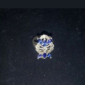 Jewelry - Blue Sapphire on .925 sterling silver size 6